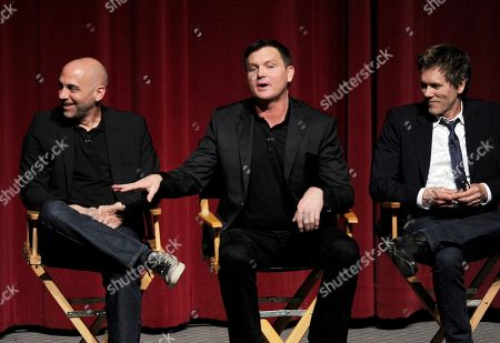 """L-R) Executive producer/director Marcos Siega, creator/executive producer Kevin Williamson and actor Kevin Bacon participate in FOX's """"The Following"""" finale screening panel at the Academy of Television Arts & Sciences' Leonard H. Goldenson Theater on in North Hollywood, California"""