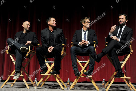 """L-R) Executive producer/director Marcos Siega, creator/executive producer Kevin Williamson and actors Kevin Bacon and James Purefoy participate in FOX's """"The Following"""" finale screening panel at the Academy of Television Arts & Sciences' Leonard H. Goldenson Theater on in North Hollywood, California"""