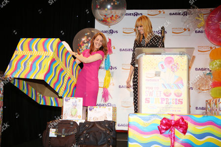 "Stock Image of LeAnn Morrissey, the founder of Operation Shower, and Heidi Klum open gifts at a baby shower for military moms-to-be by Heidi Klum's Truly Scrumptious Collection and Babies""R""Us at The Globe Theatre at Universal Studios Hollywood on in Universal City, Calif"
