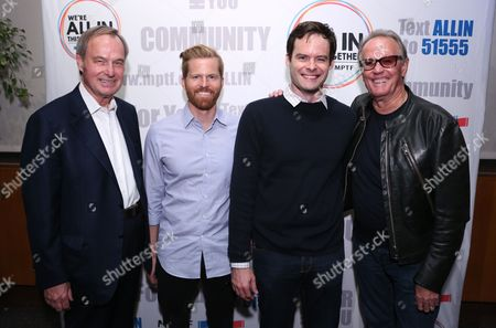 Ken Scherer, CEO of the MPTF Foundation, from left, Alex Buono, director and executive producer, Documentary Now!, Bill Hader and Peter Fonda attend IFC and MPTF's Documentary Now! screening at the Directors Guild of America Theatre, in Los Angeles