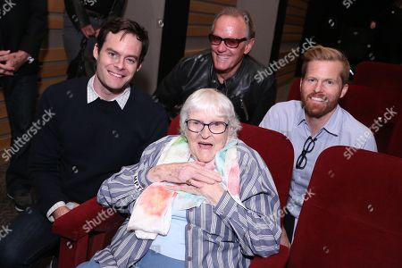 Bill Hader, from left, animator Ruthy Tompson, Peter Fonda and Alex Buono, director and executive producer, Documentary Now!, attend IFC and MPTF's Documentary Now! screening at the Directors Guild of America Theatre, in Los Angeles
