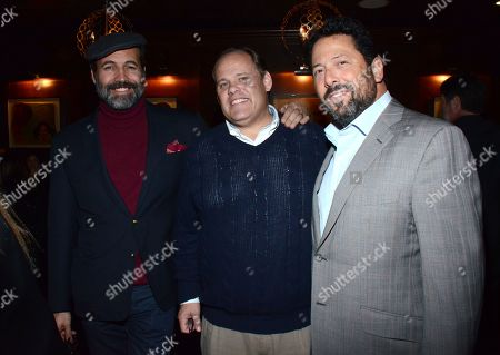"Billy Zane, George Wight, and Josh Leiberman pose at private LA dinner for ""Song One"" screening hosted by Jean Shafiroff with director Kate Barker-Froyland and Anne Hathaway at The Palm Restaurant, in Beverly Hills, California"