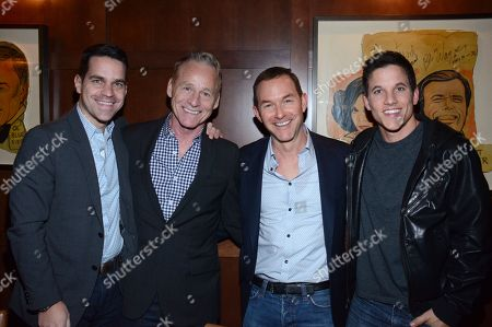 "Dave Karger, Terry Clark, Dan Jinks, and Mike C. Manning pose at private LA dinner for ""Song One"" screening hosted by Jean Shafiroff with director Kate Barker-Froyland and Anne Hathaway at The Palm Restaurant, in Beverly Hills, California"