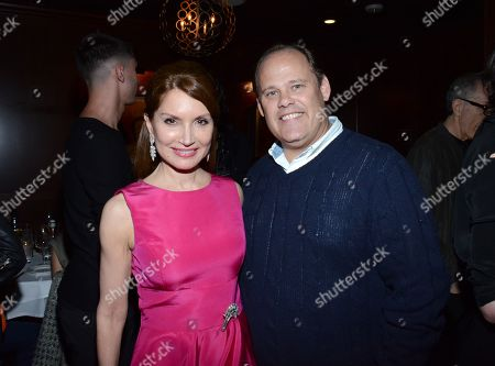 "Jean Shafiroff and George Wight pose at private LA dinner for ""Song One"" screening hosted by Jean Shafiroff with director Kate Barker-Froyland and Anne Hathaway at The Palm Restaurant, in Beverly Hills, California"