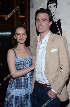 "Stock Photo of Jess Weixler and Hamish Brocklebank pose at private LA dinner for ""Song One"" screening hosted by Jean Shafiroff with director Kate Barker-Froyland and Anne Hathaway at The Palm Restaurant, in Beverly Hills, California"