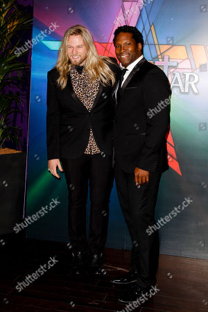 L-R) Nathan James and Robert Wright arrive at the opening night of Andrew Lloyd Webber's revamped production of Jesus Christ Superstar at the O2 on in London, UK
