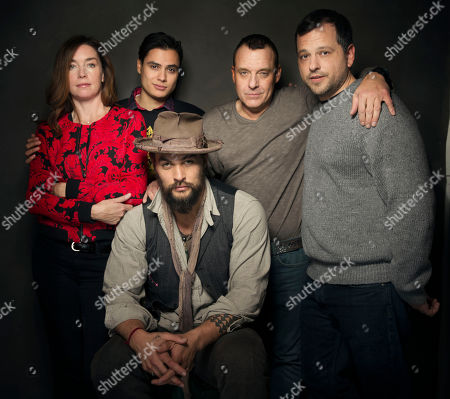 From left, Julianne Nicholson, Kiowa Gordon, Jason Momoa, Tom Sizemore, and Aaron Guzikowski pose for a portrait at Quaker Good Energy Lodge with GenArt and the Collective, during the Sundance Film Festival, on in Park City, Utah