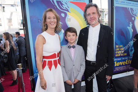 """Stock Image of Michelle Pohlad, from left Oliver Pohlad and director Bill Pohlad arrive at the LA Premiere Of """"Love & Mercy"""" at the Samuel Goldwyn Theater, in Beverly Hills, Calif"""