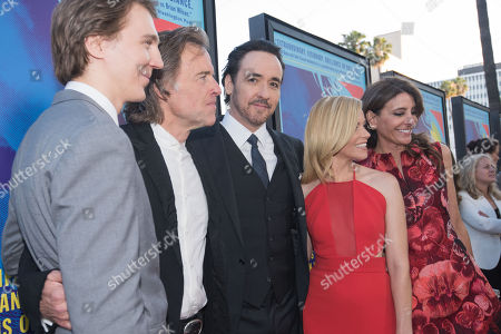"Stock Picture of Paul Dano, from left, Bill Pohlad, John Cusack, Elizabeth Banks and Claire Rudnick Polstein arrive at the LA Premiere Of ""Love & Mercy"" at the Samuel Goldwyn Theater, in Beverly Hills, Calif"