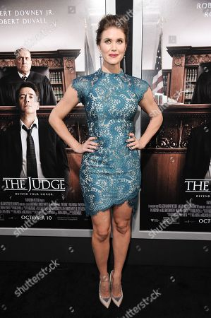"""Sarah Lancaster arrives at the LA Premiere OF """"The Judge"""", in Beverly Hills, Calif"""