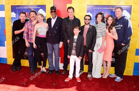 "From left to right, actor Chris Pratt, actor Nick Offerman, actress Elizabeth Banks, actor Morgan Freeman, actor Will Arnett, actor Jadon Sand, actor Charlie Day, actress Cobie Smulders, actress Alison Brie, and actor Will Ferrell seen at the premiere of the feature film ""The Lego Movie"" on in Los Angeles"