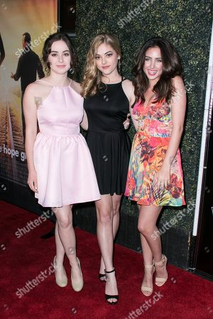 "Sarah Gilman, from left to right, McKaley Miller and Ryan Newman arrive at the LA Premiere of ""Where Hope Grows"" held at Arclight Cinemas Hollywood on in Los Angeles"
