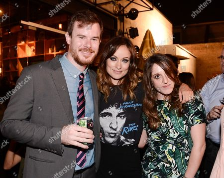 """From left to right, director Joe Swanberg, actress Olivia Wilde, and producer Alicia Van Couvering attend the after party for the special screening of the feature film """"Drinking Buddies"""" at the ArcLight Hollywood on Thursday, Aug.15, 2013 in Los Angeles"""
