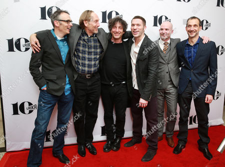 Stock Photo of Graham Annable, Henry Selick, Neil Gaiman, Travis Knight, Chris Butler and Anthony Stacchi seen at the LAIKA 10th Anniversary Party at The London Hotel, in West Hollywood, Calif