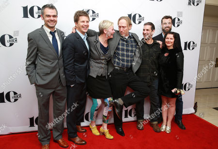 Ollie Jones, Steve Emerson, Georgina Hayns, Henry Selick, Brad Schiff, Deborah Cook and Brian McLean seen at the LAIKA 10th Anniversary Party at The London Hotel, in West Hollywood, Calif
