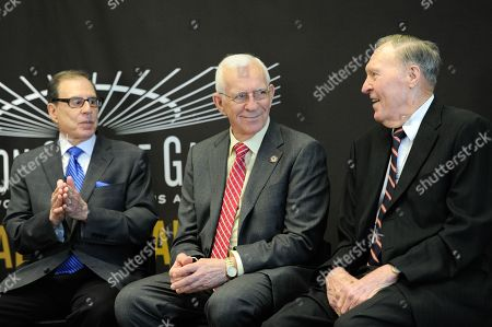 Photographer George Kalinsky, left, hockey great Eddie Giacomin and basketball great Harry Gallatin are pictured at the Madison Square Garden 2015 Walk of Fame Induction ceremony, in New York