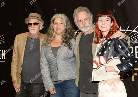 Musicians Bill Kreutzmann, left, and Bob Weir of the Grateful Dead are joined by Trixie Garcia and Reya Hart, representing their fathers Jerry Garcia and Mickey Hart, at the Madison Square Garden 2015 Walk of Fame Induction ceremony, in New York