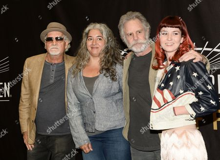Musicians Bill Kreutzmann, left, and Bob Weir of the Grateful Dead are joined by Trixie Garcia and Reya Hart, right, representing their fathers Jerry Garcia and Mickey Hart, at the Madison Square Garden 2015 Walk of Fame Induction ceremony, in New York