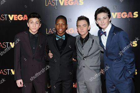 """Stock Picture of Cast members, from left, RJ Fattori, Aaron Bantum, Noah Harden and Phillip Wampler attend the premiere of """"Last Vegas"""" at the Ziegfeld Theatre on in New York"""
