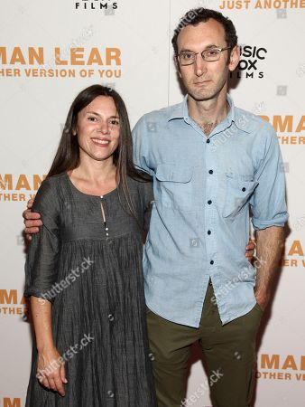 """Amanda McBaine, left, and Jesse Moss, right, attend the premiere of, """"Norman Lear: Just Another Version of You"""", at the Walter Reade Theater, in New York"""