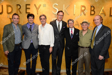 """Stock Picture of From left, David Melville, director Matt August, Randall Arney, Ken Novice, Scott Carter, Armin Shimerman and Larry Cedar attend the opening night of """"Discord"""" at The Geffen Playhouse on in Westwood, Calif"""