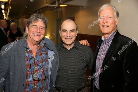 """From left, cast members Richard O'Callaghan and David Suchet pose with actor Richard Chamberlain backstage after the opening night performance of """"The Last Confession"""" at the Center Theatre Group/Ahmanson Theatre, in Los Angeles, Calif"""