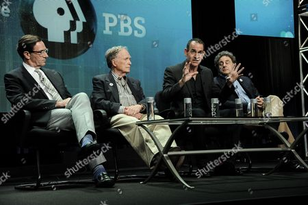 "From left, WNET Vice President Programming Stephen Segaller, Dick Cavett, Watergate historian Timothy Naftali, and Director/Writer/Producer John Scheinfeld speak on stage during the Dick Cavett's Watergate"" panel at the PBS 2014 Summer TCA held at the Beverly Hilton Hotel, in Beverly Hills, Calif"