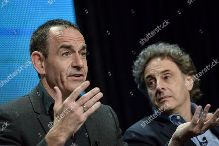 """Watergate historian Timothy Naftali, left, and Director/Writer/Producer John Scheinfeld speaks on stage during the Dick Cavett's Watergate"""" panel at the PBS 2014 Summer TCA held at the Beverly Hilton Hotel, in Beverly Hills, Calif"""