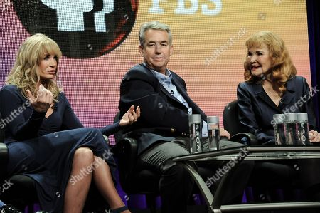 "From left, Mary Crosby, Nathaniel Crosby, and Kathryn Crosby speak on stage during the American Masters Bing Crosby: Rediscovered"" panel at the PBS 2014 Summer TCA held at the Beverly Hilton Hotel, in Beverly Hills, Calif"