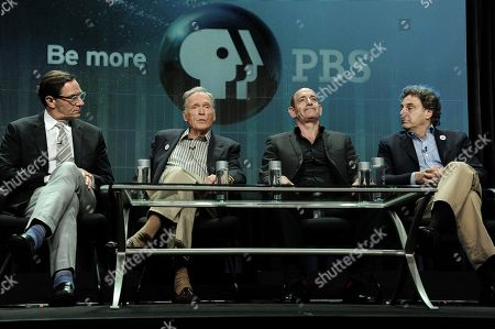 "From left, WNET Vice President Programming Stephen Segaller, Dick Cavett, Watergate historian Timothy Naftali, and Director/Writer/Producer John Scheinfeld speak on stage during the â?œDick Cavett's Watergate"" panel at the PBS 2014 Summer TCA held at the Beverly Hilton Hotel, in Beverly Hills, Calif"