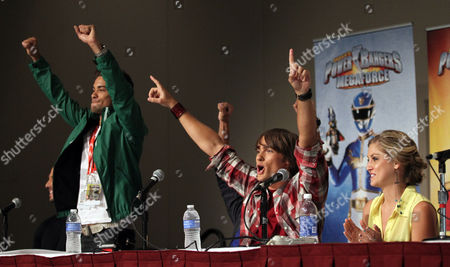 """Power Rangers Super Samurai"""" cast members Hector David Jr., left Alex Heartman, center, and Brittany Pirtle greet fans during an exclusive Q&A panel at the Power Morphicon Convention 2012, on in Pasadena, Calif"""