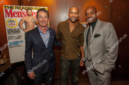 Men's Health VP/Publisher Ronan Gardiner, celebrity fitness trainer Shaun T and former Chicago Bear Rashied Davis during the pre-race dinner for the 9th annual Men's Health Urbanathlon presented by Polo Red by Ralph Lauren, at RPM Steak on in Chicago