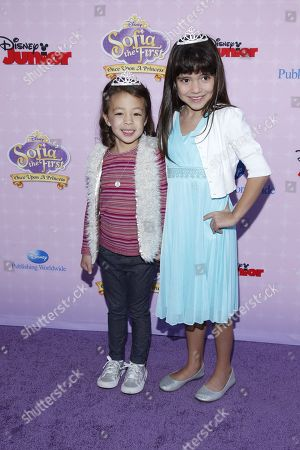 "Aubrey Anderson Emmons and Chloe Noelle attend the premiere of ""Sofia the First: Once Upon a Princess"" at Disney Studios, in Burbank, Calif"