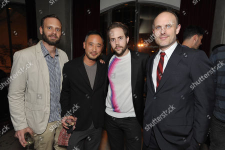 Stock Image of From center left, Cliff Fong, Eric Bushard, and THR's Degen Pener attend the Pret-A-Reporter at the Ace Hotel presented by Samsung Galaxy, on in Los Angeles
