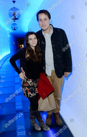 Adam Smith, Martha Freud poses at Sir Salman Rushdie Book Launch Party at the The Collection on in London