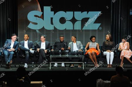 Executive producers Mike O'Malley, and from left, Maverick Carter, and Tom Werner, and actors Jessie T. Usher, RonReaco Lee, Teyonah Parris, Erica Ash and Tichina Arnold speak on stage at the STARZ 2014 Summer TCA at the Beverly Hilton Hotel, in Beverly Hills, Calif