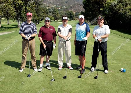From left, Jim Walker, Charles Rosen, Joe Mantegna, Don Graham, and Brian Watson participate in the Academy of Television Arts & Sciences 14th Primetime Emmy Celebrity Tee-Off, on Monday, September, 9, 2013 at Oakmont Country Club in Glendale, CA