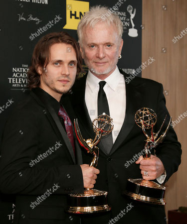 "Jonathan Jackson, left, winner of the award for supporting actor in a drama series for ""General Hospital"" and Anthony Geary, winner of the award for lead actor in a drama series for ""General Hospital,"" pose backstage at 39th Annual Daytime Emmy Awards at the Beverly Hilton Hotel on in Beverly Hills, Calif"