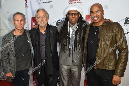 Event Co-Chair Michael Ostin, National Academy of Recording Arts and Sciences President Neil Portnow, honoree Nile Rodgers and musician Ray Chew attend the Recording Academy Producers and Engineers Wing 8th Annual Grammy Week Event at The Village Recording Studios, in Los Angeles