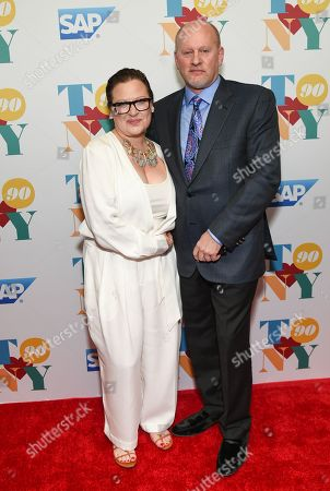 Stock Image of Caroline Manzo and brother Jaime Laurita attend Tony Bennett's 90th birthday celebration at the Rainbow Room at Rockefeller Plaza, in New York