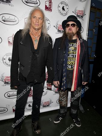 """Rickey Medlocke and Peter """"Keys"""" Pisarczyk of Lynyrd Skynyrd arrive at """"One More For The Fans - Celebrating The Songs & Music Of Lynyrd Skynyrd"""" concert event at The Fox Theatre, in Atlanta"""