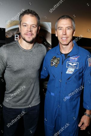 Matt Damon and Astronaut Drew Feustel at the Twentieth Century Fox 'The Martian' Trailer Launch Event at United Artists La Canada Theater, in La Canada Flintridge, CA