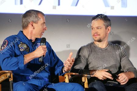 Astronaut Drew Feustel and Matt Damon at the Twentieth Century Fox 'The Martian' Trailer Launch Event at United Artists La Canada Theater, in La Canada Flintridge, CA