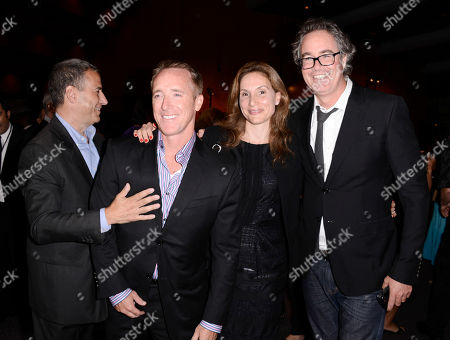 """From left to right, executive producer Stuart Ford, producer Scott Lambert, producer Alexandra Milchan, and Management 360 Founding Partner Guymon Casady arrive on the red carpet at the US premiere of the feature film """"Paranoia"""" at the DGA Theatre on in Los Angeles"""