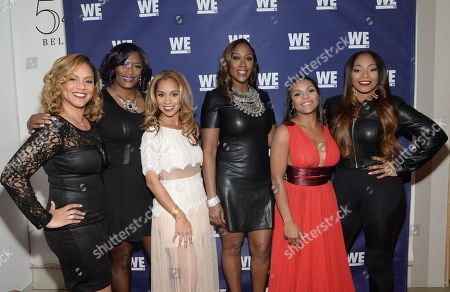 "Stock Photo of Cast members from ""SWV Reunited"" and ""Love Thy Sister"", from left, Ruby Rucker, Taj Johnson George, Ione Rucker, Cheryl Clemons, Ellen Rucker Carter and Leanne Lyons attend the WE tv Holiday Showcase at 54 Below on in New York"