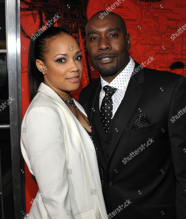 "Actor Morris Chestnut, right, and Pam Byse arrive at the world premiere of ""The Call"" at the Arclight Hollywood on in Los Angeles"