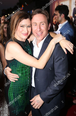 "Stock Photo of Kathryn Hahn, left, and Jonathan Tropper, executive producer/screenwriter/novel author, arrive at the Los Angeles premiere of ""This Is Where I Leave You"" at the TCL Chinese Theatre on"