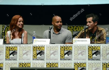 """From left, Lindy Booth, Donald Faison and John Leguizamo participate in the """"Kick Ass 2"""" panel on Day 3 of Comic-Con International, in San Diego, Calif"""