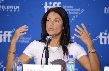 """Stock Picture of Betsy Andreu speaks at the press conference for """"The Armstrong Lie"""" on day 5 of the Toronto International Film Festival at the TIFF Bell Lightbox, in Toronto"""