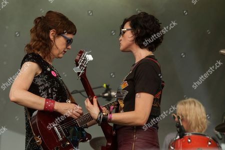 Mary Timony, Betsy Wright and Laura Harris of Ex Hex seen at the 2015 Pitchfork Music Festival, on in Chicago